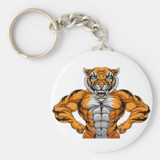 Strong Tiger Sports Mascot Basic Round Button Key Ring
