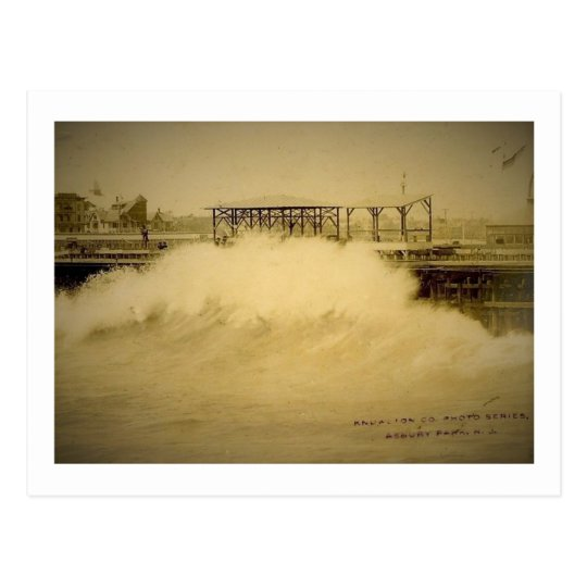 Strong Waves, Asbury Park, New Jersey Vintage Postcard