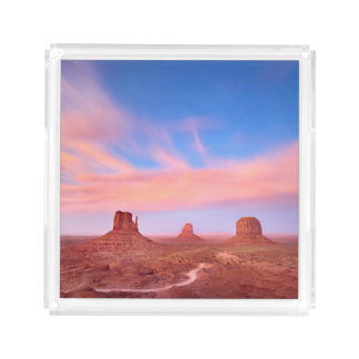 Strong Winds over Desert Valley Acrylic Tray