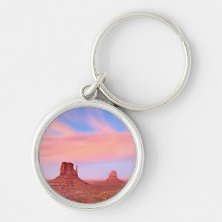 Strong Winds over Desert Valley Silver-Colored Round Key Ring