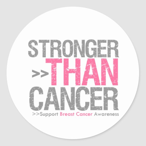 Stronger Than Cancer - Breast Cancer Round Stickers