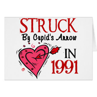 Struck By Cupid's Arrow In 1991 Greeting Card