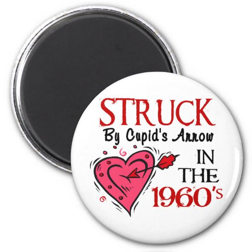 Struck With Cupid's Arrow In The 1960's Refrigerator Magnet