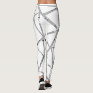 Structure of triangles with a collage of inscripti leggings