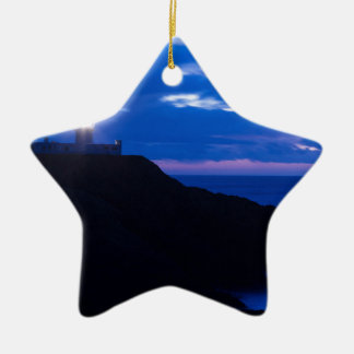 Strumble Head Lighthouse at dusk Ceramic Star Decoration