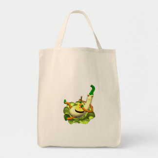 Strummer squash plays a tune grocery tote bag