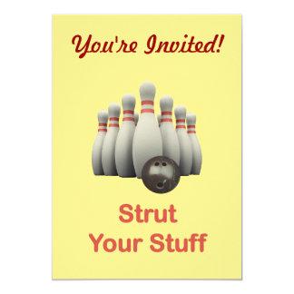 "Strut Your Stuff Bowling 5"" X 7"" Invitation Card"