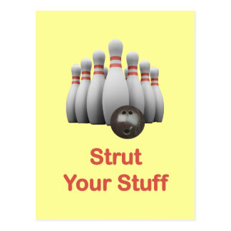 Strut Your Stuff Bowling Postcard