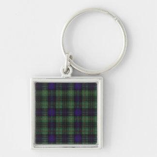 Stuart clan Plaid Scottish kilt tartan Silver-Colored Square Key Ring