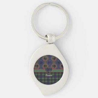 Stuart clan Plaid Scottish kilt tartan Silver-Colored Swirl Key Ring
