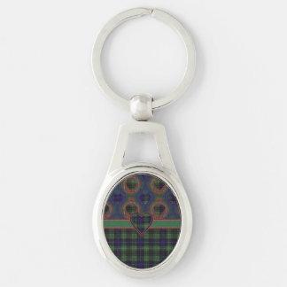 Stuart clan Plaid Scottish kilt tartan Silver-Colored Oval Key Ring