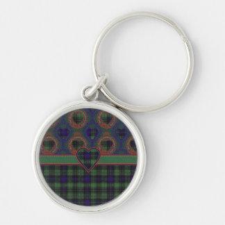 Stuart clan Plaid Scottish kilt tartan Silver-Colored Round Key Ring