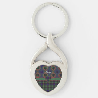 Stuart clan Plaid Scottish kilt tartan Silver-Colored Twisted Heart Key Ring