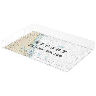 Stuart FL Nautical Chart Latitude Longitude Acrylic Tray