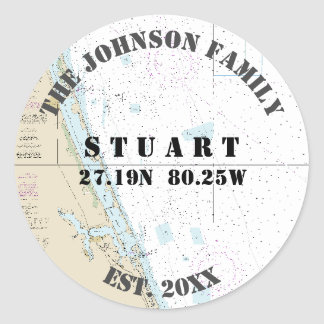 Stuart Florida Nautical Envelope Seals for Boaters Round Sticker