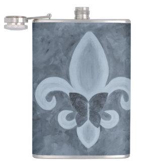 Stubborn Bar   Denim Blue Fleur de Lis Butterfly Hip Flask