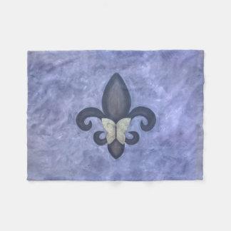Stubborn Decor Periwinkle Butterfly Fleur de Lis Fleece Blanket