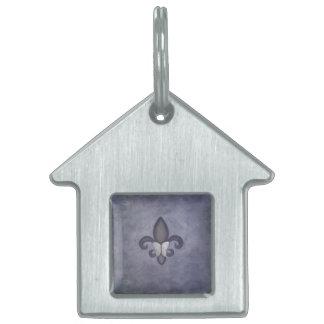 Stubborn Decor | Purple Fleur de Lis Butterfly Pet Tag