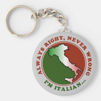 Stubborn Italian Funny Basic Round Button Key Ring