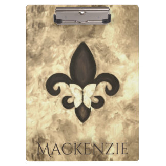 Stubborn Office | Sepia Name Fleur Lis Butterfly Clipboard