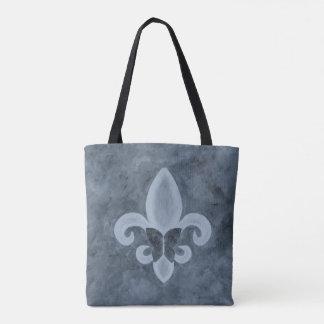Stubborn Smoky Denim Blue Fleur de Lis Butterfly Tote Bag