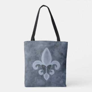 Stubborn Stylish Denim Blue Fleur de Lis Butterfly Tote Bag