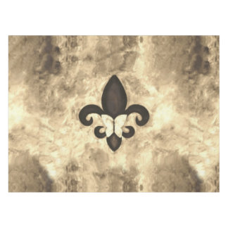 Stubborn Table   Sepia Tan Butterfly Fleur de Lis Tablecloth