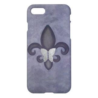 Stubborn Trendy Purple Butterfly and Fleur de Lis iPhone 7 Case