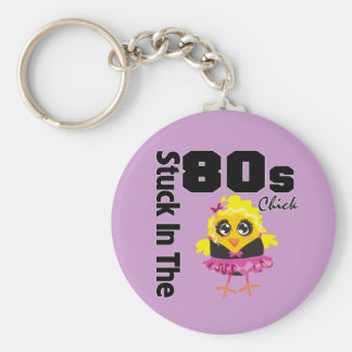 Stuck in the 80s Chick Basic Round Button Key Ring