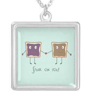 Stuck on you square pendant necklace