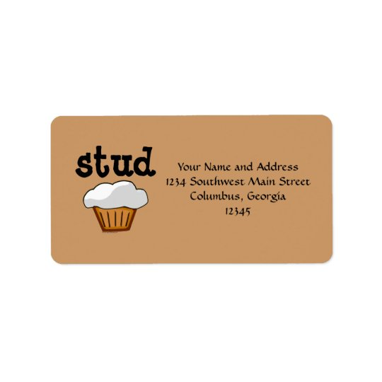 Stud Muffin, Cute Funny Baked Good Address Label