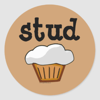 Stud Muffin, Cute Funny Baked Good Classic Round Sticker