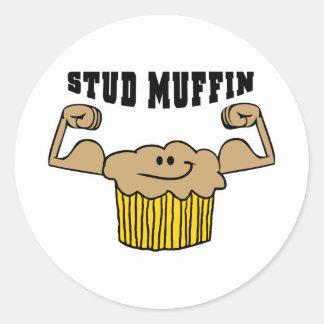 Stud Muffin Round Sticker