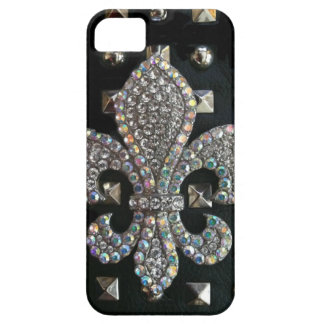 Studded fleur de lis print case barely there iPhone 5 case