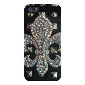 Studded Fleur de lis print Case For The iPhone 5
