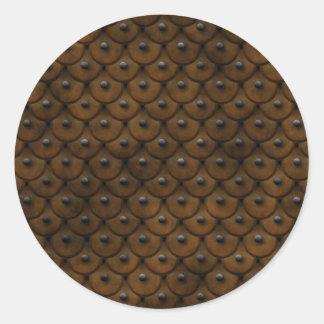 Studded Leather is stylish Round Sticker