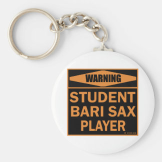 Student Bari Sax Player Basic Round Button Key Ring