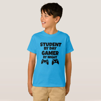 Student by day Gamer by night funny boys shirt