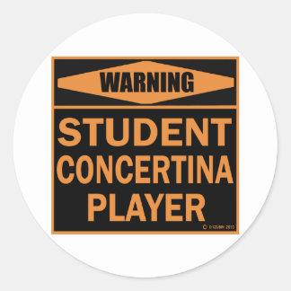 Student Concertina Player Classic Round Sticker