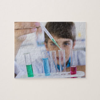 Student doing science experiment 3 jigsaw puzzle