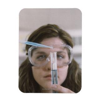 Student Holding Test Tube Rectangular Photo Magnet