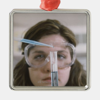 Student Holding Test Tube Silver-Colored Square Decoration