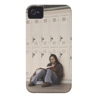 Student leaning on school lockers studying iPhone 4 Case-Mate cases