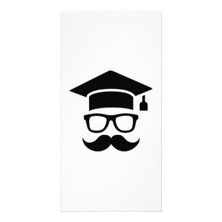 Student mustache graduation personalized photo card
