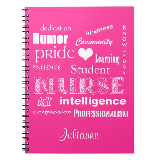 Student Nurse-Attributes+Heart/Personalise Name Spiral Notebook