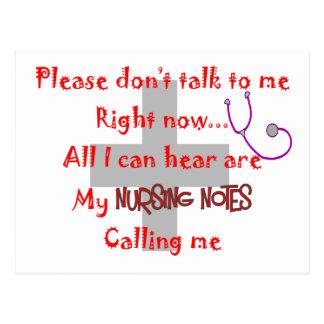 "Student Nurse ""Nursing Notes"" Funny T-shirt Postcard"