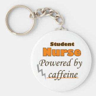 Student Nurse Powered by caffeine Basic Round Button Key Ring