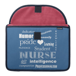 "Student Nurse Pride-Attributes/Blue/13"" Sleeve For MacBook Pro"