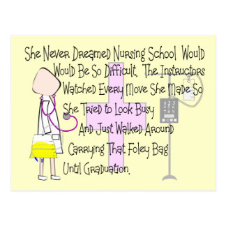 """Student Nurse Story Art Gifts--""""Foley Bag"""" Funny Post Cards"""