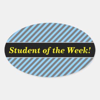 Student Praise + Light Blue & Gray Stripes Pattern Oval Sticker